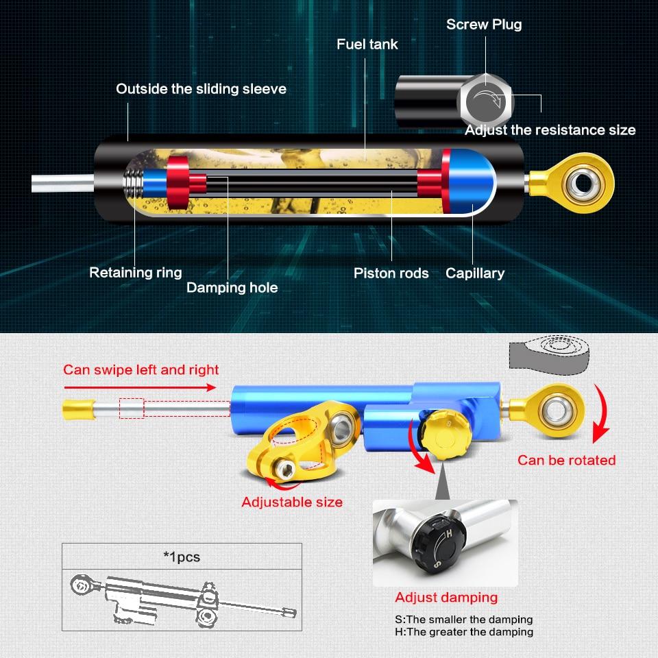 Universal Motorcycle Damper Steering Stabilizer Moto Linear Safety Control For APRILIA Tuono V4 APRC Shiver 750 Tuono V4 1100 RR<br>