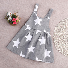 Girl Summer Dresses Children Strip Star Print Princess Blackless Cotton Dress 2017 Baby Kids Clothing
