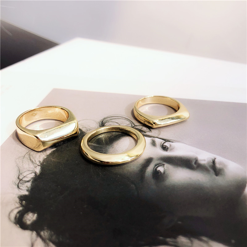 MENGJIQIAO Metal Rings Mid-Finger-Knuckle Punk Gold-Color Vintage Women Gifts Irregular title=