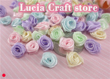 144pcs 10mm Multi color Option Satin Flower Head Girls Boutique Mini Hair Bow Headwear DIY Garment Craft D14021031