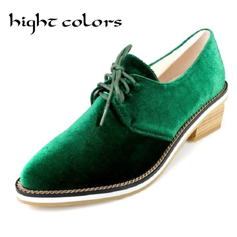 Black Green Blue Womens Retro British Oxford Shoes Lace Up Suede Casual Comfort Low Heel Pumps Chain Platform Pointed Toe Shoes <br>