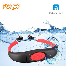 100% Waterproof 4GB 8GB MP3 Music Media Player Underwater Neckband Swimming Sport mp3 player with FM Radio Stereo Audio Earphone(China)