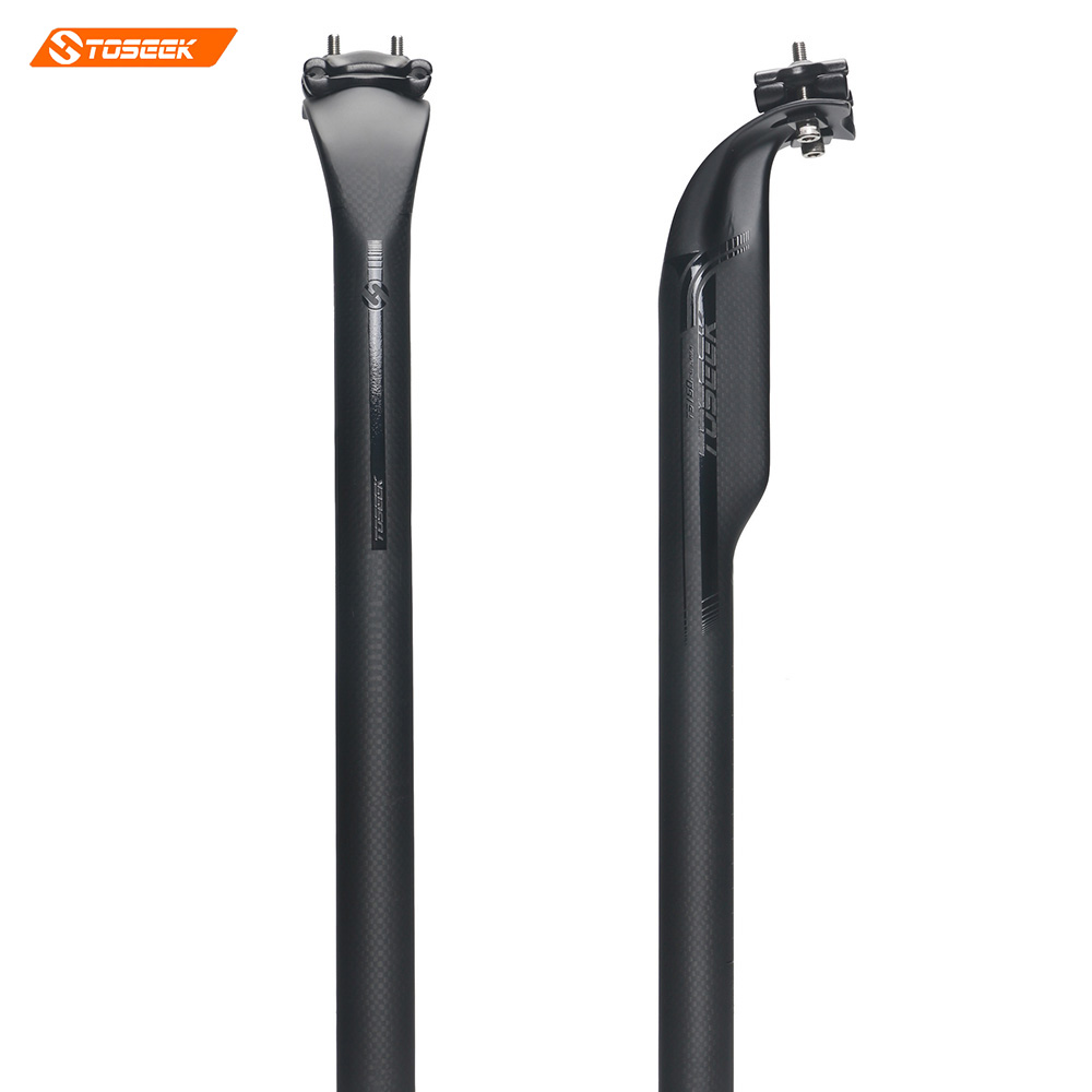 TOSEEK Carbon Bicycle Seat post Adjustable Offset 50mm 27.2/31.6*400mm 3K Matte Road Bike carbon seat post  220g<br>