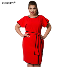 COCOEPPS Women Summer Elegant 4XL 5XL 6XL Plus Size Dresses Big Large Size Red Office Party Sashes Dress Ruffles Sleeve clothes