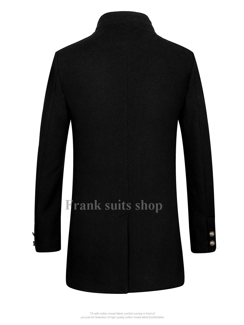 Custom made 2017 Wool Blends Single Breasted Red Winter Wool Overcoat Men Stand Collar Slim Long Peacoat