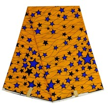 new arrival African real wax fabric,top quality prints wax fabric for cloth!YELLOW BLUE STARS BL