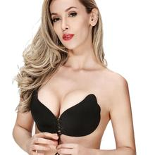 2018 Women Wings Sexy Women Super Push Up Bra Backless Self Adhesive Strapless Stick Gel Silicone Magic Push Up Invisible Bra(China)