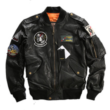 Men's Leather Jacket Embroidery Clothing Flight Suit Jacket Motorcycle Jackets Male Winter Russian Coats FREE SHIPPING(China)