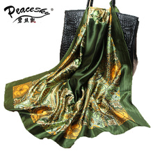 90cm*90cm 2016 Big Size Silk Square Scarf Women Fashion Brand High Quality Imitated Silk Satin Scarves Polyester Shawl Hijab(China)