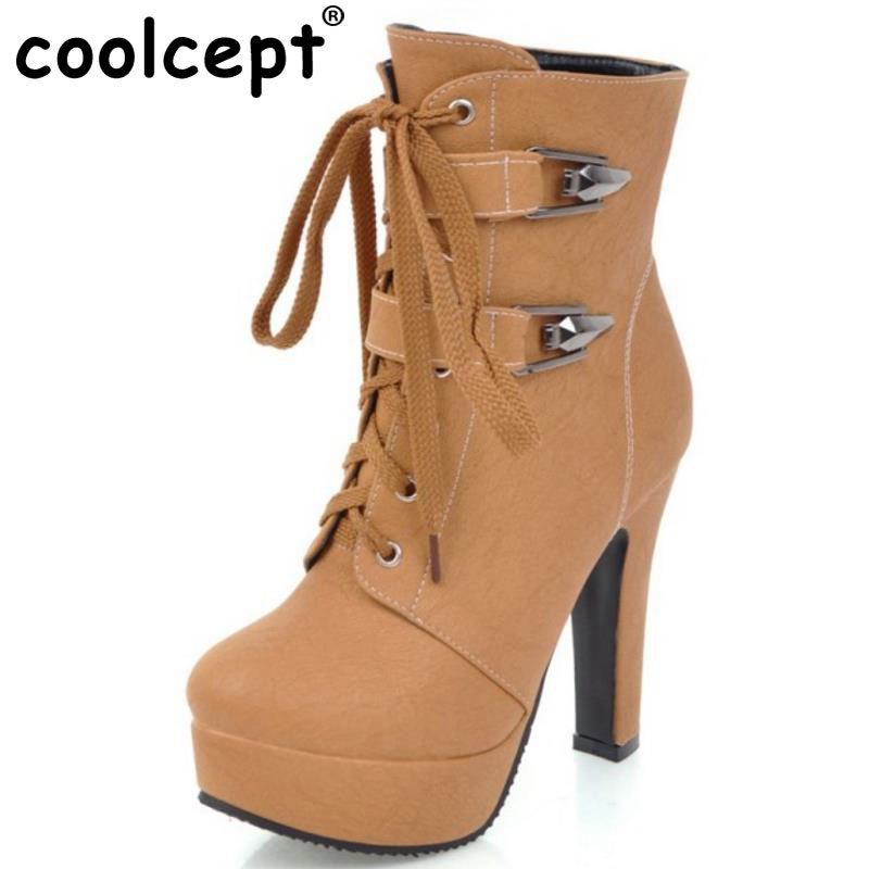 Coolcept Size 30-50 Sexy Ladies High Heel Boots Women Platform  Cross Strap Heels Boot Warm Winter Dating Daily Bota <br>
