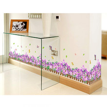 2016 Grass Splendor waist baseboard living room Bedroom wall stickers home decor small flowers waterproof stickers Poster