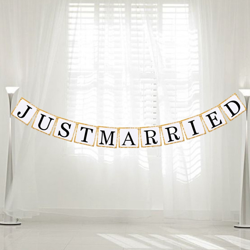 Just Married Party Accessories Bunting Garland Banner Wedding Car Decoration Photo Booth Prop DIY Wedding Events Supplies Gifts
