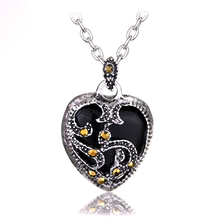 2 Color New Statement Necklace Silver Marcasite Heart Pendant Choker Necklace