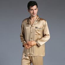 New Arrival Autumn Men Silk Pyjamas Set Long-Sleeved Pajamas Set Men's Silk Sleepwear Soft Cozy For Sleep Free Shipping(China)