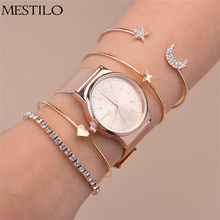 Mestilo Rose Gold Sliver Star Moon Open Cuff Bracelets Bangles Heart Rhinestone For Women Wrist Watches Set