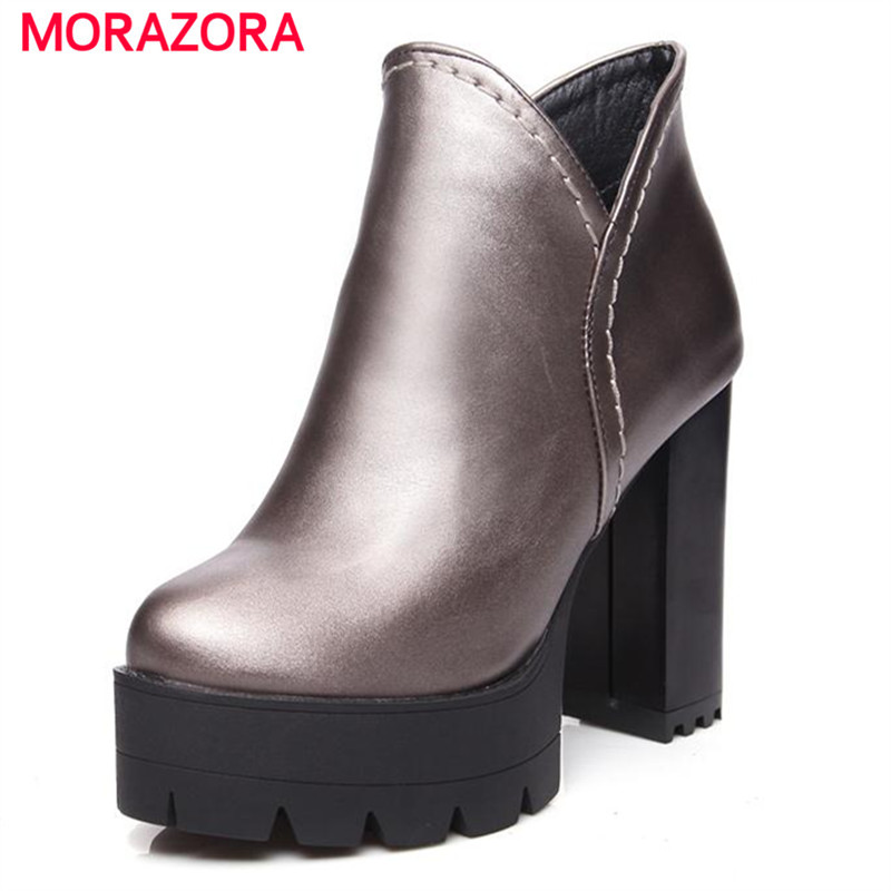 MORAZORA Work boots high heels women boots spring autumn ankle boots large size 34-43 pu zipper contracted fashion<br>