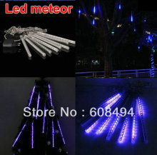 20cm LED Meteor Shower Rain Tube Snowfall Lights Outdoor Garden Tree Decoration Wedding Christmas 8 Poles/string 80DIP leds-BLUE