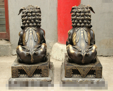 "Free shipping S0466    26"" Giant China FengShui Pure Bronze Guardian Foo Fu Dog Door Lion Kid Ball Pair"