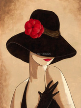 2015 abstract painting Beautiful woman wearing a hat picture canvas art paint home decor wall decor(China)