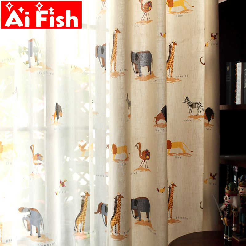 Children Cartoon Boys Girls Bedroom Curtain Kids Blinds Window Shade Cloth Cute Animal Print Pattern Screening Fabric DF005#30
