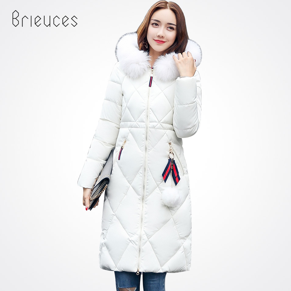 Brieuces 2017 autumn winter jacket women cotton-padded jacket parka long thicken hooded jacket women winter coat outerwearÎäåæäà è àêñåññóàðû<br><br>