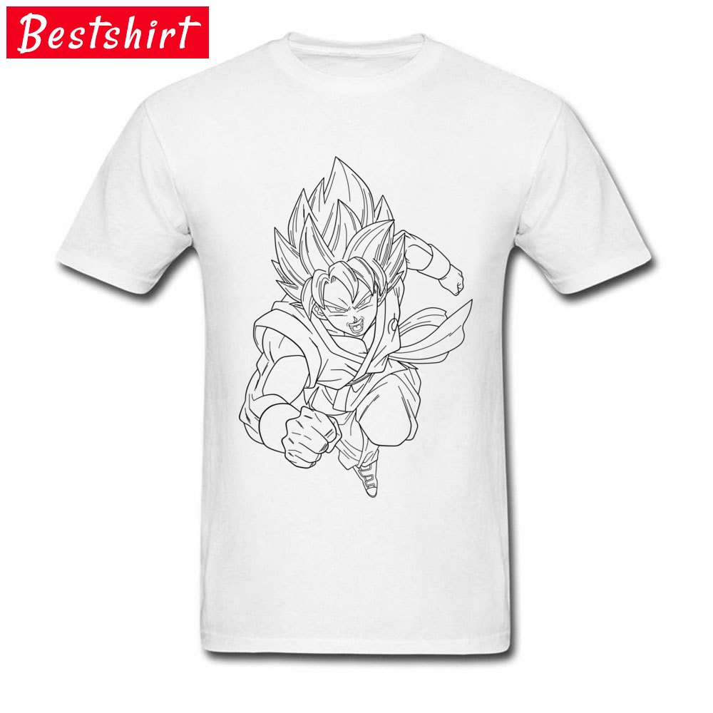 Printed On Short Sleeve Tops & Tees Thanksgiving Day New Coming Round Neck Pure Cotton T-Shirt Men T Shirt goku super saiyan  goku super saiyan  white