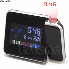 New Digital LCD LED Projector Alarm Clock Projecting Weather Station Thermometer
