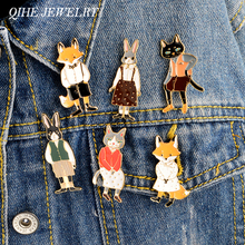 QIHE JEWELRY 6pcs/set Animal pin set Rabbit/Fox/Cat enamel pin Badges Hat Backpack Cartoon animal couple jewelry Gift for lover(China)
