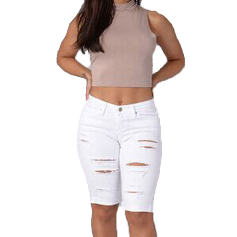 2017 New Fashion Slim Women Jeans Knee Length Sexy Ripped Holes Harem Pants Jeans Summer Style Short White Trousers For WomenОдежда и ак�е��уары<br><br><br>Aliexpress