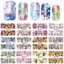 12 Designs/Set Mixed Designs Dreakcatcher Full Water Transfer Decals Nail Art Sticker Nail Decoration Manicure Tool SAA1309-1320