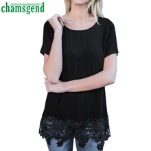 CHAMSGEND Good Deal  2017 Hot  Womens Polyester O Neck Short Sleeve Lace  T-Shirt Tops Tee 1PC_U00442