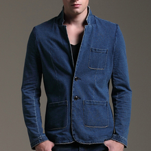 Spring Autumn Fashion Men's Ripped Slim Fitted Suit Collar Denim Blue Blazer  Casual Formal Business Jeans Blazers Coat For Man