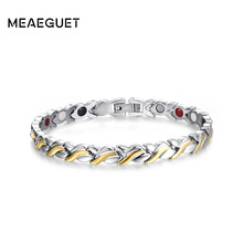 "Meaeguet 7mm Wide Healthy Magnetic Charm Bracelets Negative Ion Far Infrared Stainless Steel Jewelry For Women 20"" Hand Chain"