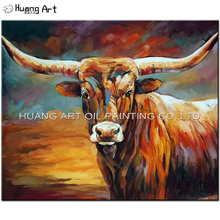 100% Handmade Bull Oil Painting by Skill Painter Brown Animal Oil Picture on Canvas for Living Room Painting No Frame Wall Art