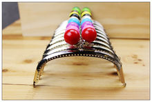 10 pcs/lot arc-shaped12.5CM Lovely Candy Bead with Base smooth Thicken Metal Purse Frame Kiss Clasp 10colors FK07 Free shipping(China)