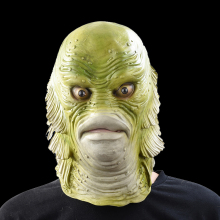 Scary Monster Latex Fish Mask Creature from the Black Lagoon Cosplay Merman Props Adult Halloween party Masks