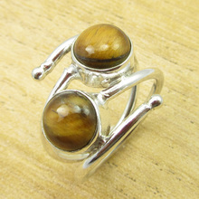 Genuine Tiger's Eye LUXURY Ring Size US 7 ! Silver Plated Jewelry ONLINE STORE(China)