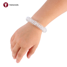 1Pcs Acupuncture Bracelet Wrist Massager Supplies Relaxation Relief Stainless Steel Wrist Hand Massage Ring Health Care Tool