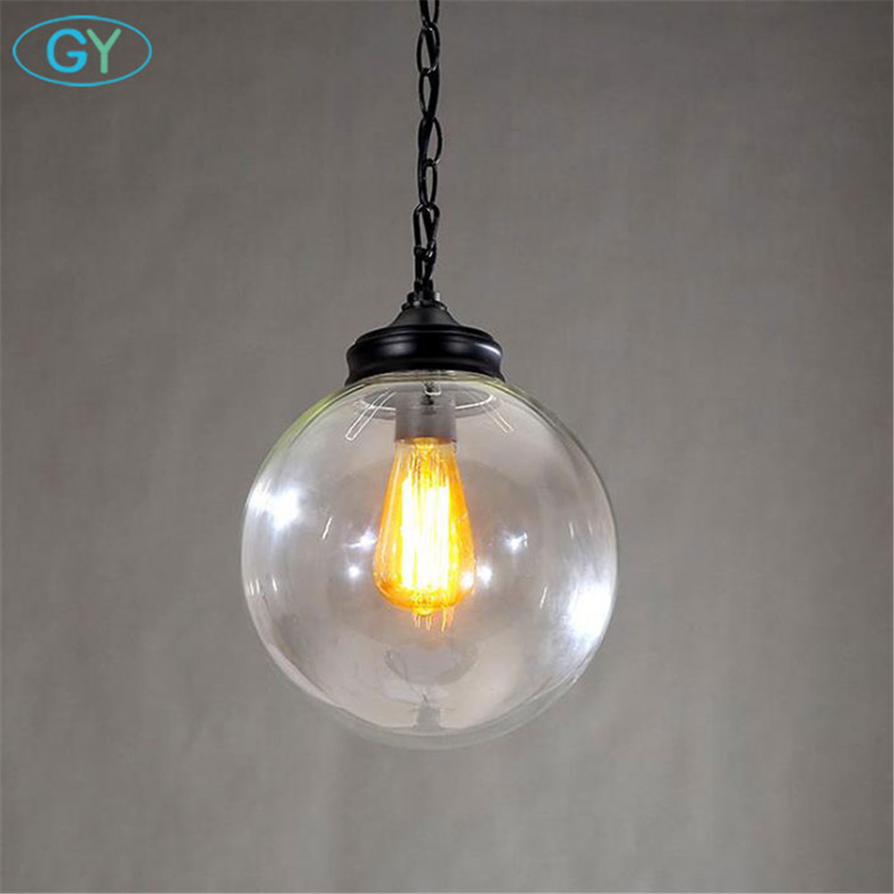 Antique Industrial Glass Pendant Lighting 1-Light D20cm Globe Glass lampshade pendant lamp Art Deco E27 lampara colgante Fixture<br>