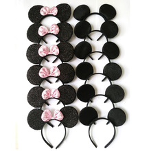 12pcs Hair Accessories Minnie/Mickey Ears Headbands Black & Pink Sequins Bow Boy and Girl Headwear for Birthday Party(China)