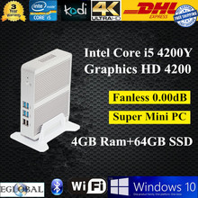 Fanless mini pc embedded computer Intel Core i3 5005U 4GB RAM 64GB SSD USB3.0  300M Wifi VGA+HDMI 3 Years Warranty