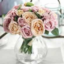 OUTAD One Bunch Charming Artificial Ranunculus Bouquet DIY Home Wedding Party Decorative Ranunculus Flower Bouquet Pink/Purple