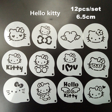 12Pcs/Set Cartoon Latte Coffee Stencils Hello Kitty Cake Mold Fondant Cookies Baking Tools Art DIY Tools  D01