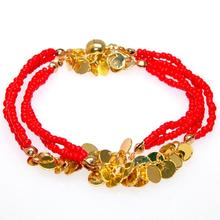 Double wrap magnetic bracelets with FRINGE bracelet,New double wrap Bracelets with glass seed beads and FRINGE chain,golden/red