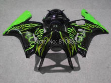 Custom Motorcycle Fairing kit for KAWASAKI Ninja ZX6R 03 04 ZX6R 636 2003 2004 Green flames black Fairings set +7 gifts SQ09(China)