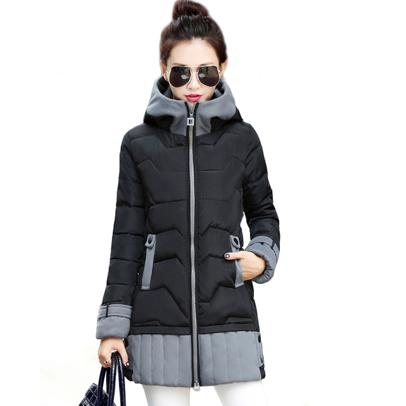 2017 New Women Winter Jacket Fashion Medium-Long Female Warm Cotton Padded Coat Ladies Hooded Plus Size Parkas Clothes WY468Одежда и ак�е��уары<br><br><br>Aliexpress