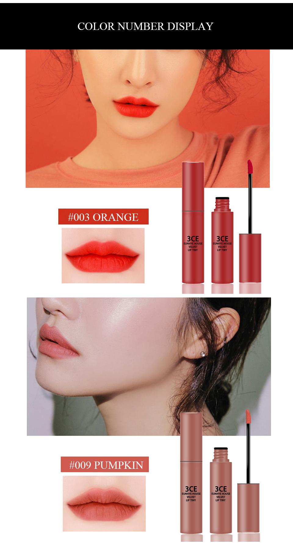 3CE Eunhye House Brand New Lip Cosmetics 3 colors Lip glaze Moisturizer Long-lasting Lip Makeup for common 9