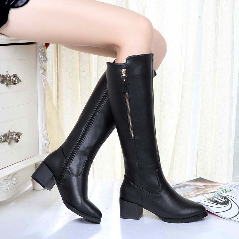 2017 Winter new boots side zipper pointed thick with plus velvet high boots Martin boots women boots tide<br><br>Aliexpress