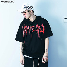VERSMA New American Style GD Kanye West Graffiti Letter Loose Men T shirt Short Sleeve Hood Top Tee Mens T shirts Fashion 2016