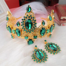 Vintage Classic Prom Luxury Hair Jewelry Baroque Large Red Green Rhinestone Crystal Bridal Tiara Wedding Queen Crown Diadem